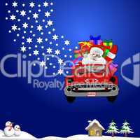 Hintergrund Nikolaus mit Auto