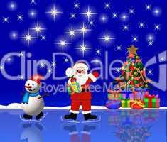 Nikolaus mit Schneeman beim eislaufen