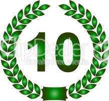 grüner lorbeerkranz 10 jahre