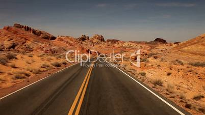 Driving Fast Through the Nevada Desert in Red Rock USA