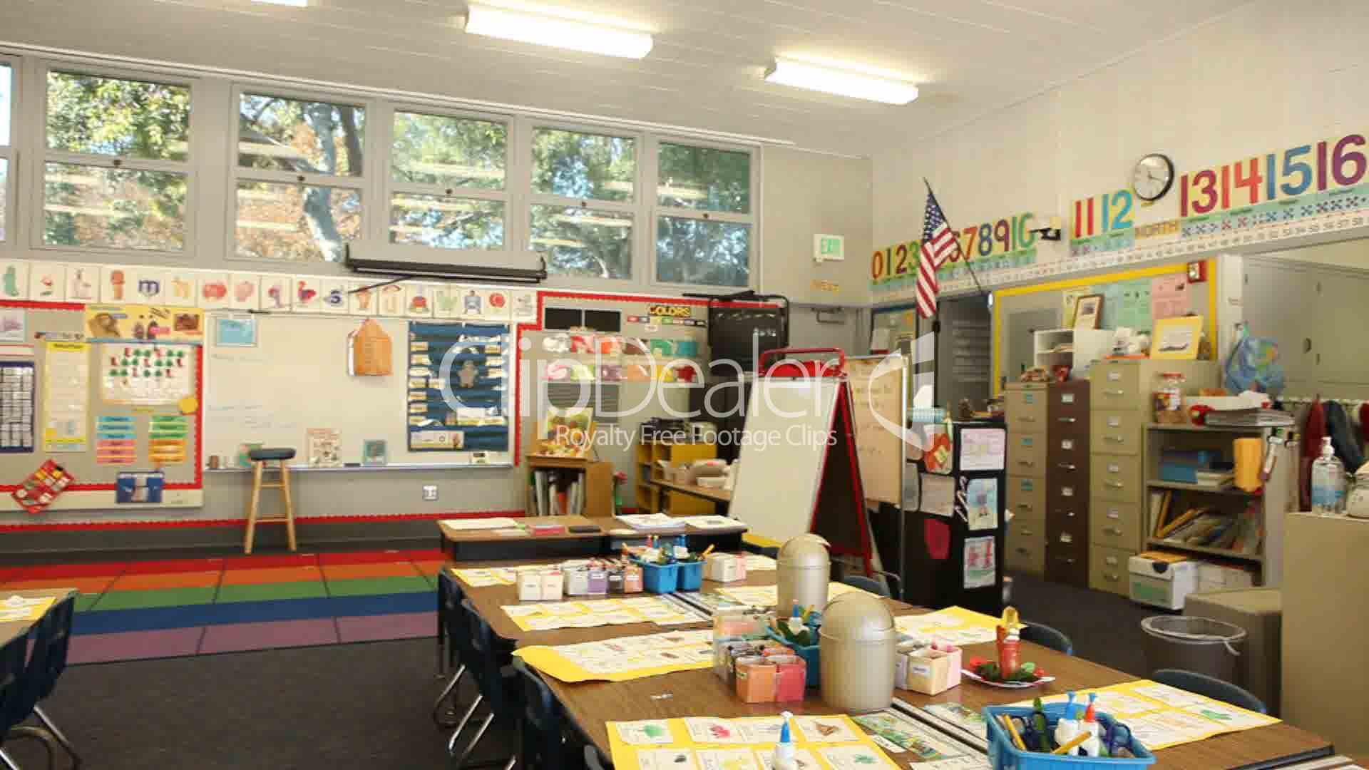 Modern Elementary School Classroom ~ Kindergarten classroom with no children inside royalty