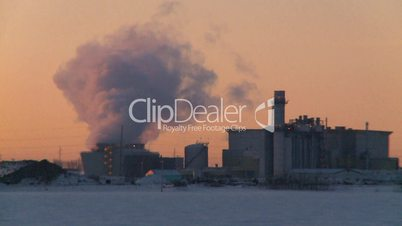 power generation plant at sunrise
