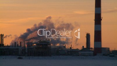 Gas plant at sunrise