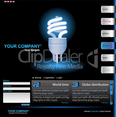 Website Template Glühlampe