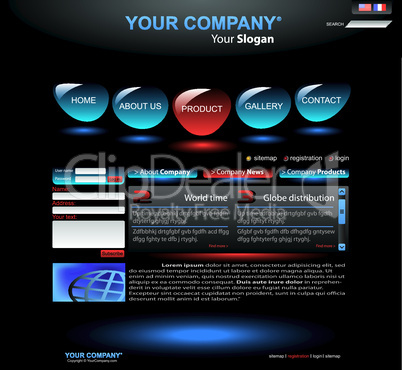 Website Template blau-schwarz