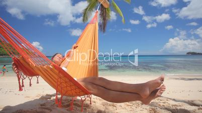 woman in hammock sideview