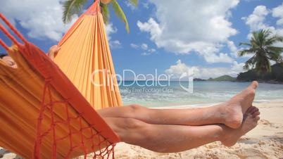 legs of woman in hammock