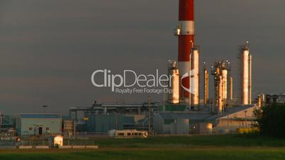 gas plant stack late sunset