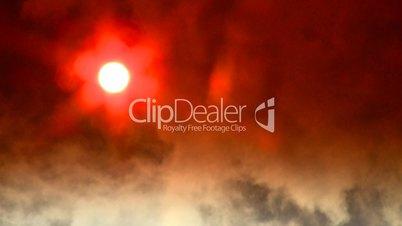 Steam cloud obscured sun