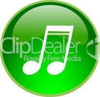 3D Button grün Musiknoten