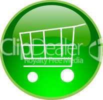 3D Button grün Einkaufswagen