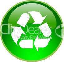 3D Button grün Recycling Kreislauf