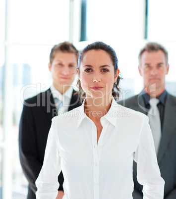 Confident businesswoman leading her team