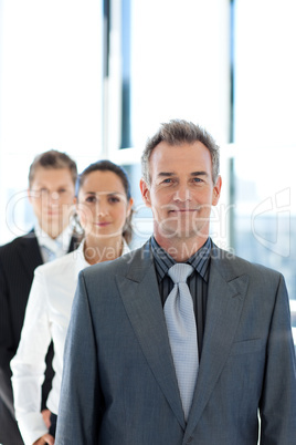 business team in a line