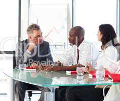 Business people interacting in office