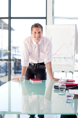 businessman standing in a presentation