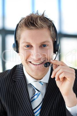 Businessman talking on a headset
