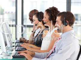 Young businesswoman working in a call center