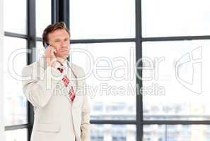 Senior businessman on phone