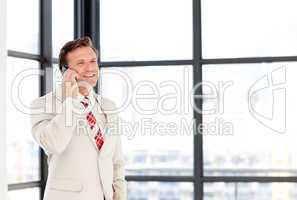 Businessman speaking on a mobile phone