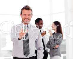 Businessman celebrating a success