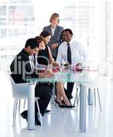 Female manager with her team in office