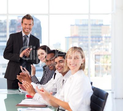 Businessman having success in a meeting