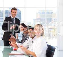 Businessman having success in a meeting