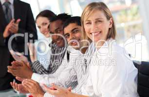 Senior businesswoman happy in a meeting