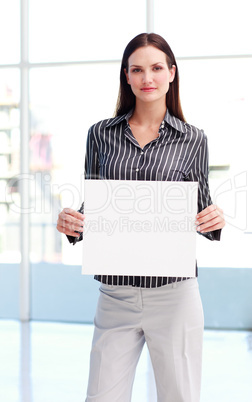 Businesswoman holding a blanket card