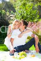 Couple having picnic in a park