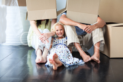 Family having fun after moving house