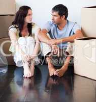 Couple talking about thir new house
