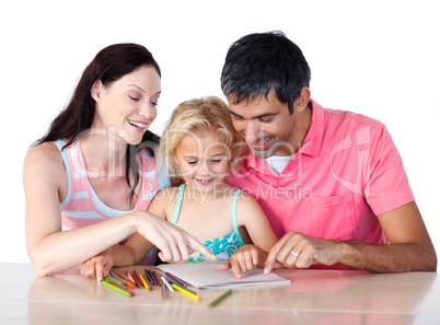 Parents helping their daughter doing homework