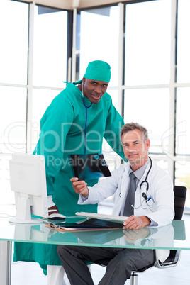 Professional doctors looking at an X-ray