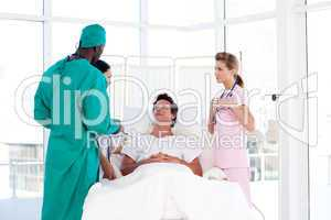 A patient meeting his surgeon