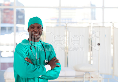 Smiling Afro-American surgeon looking at the camera
