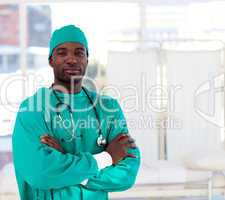 Portrait of a serious Afro-American surgeon looking at the camer