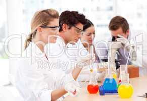Science students in a laboratory