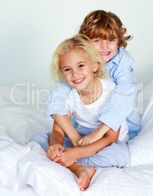 Children together in bed