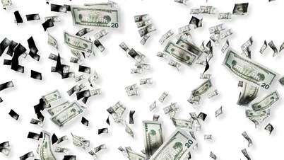 Dollarscheine in Bewegung