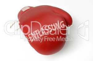 Roter Boxhandschuh Entlassung