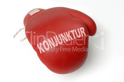 Roter Boxhandschuh Konjunktur