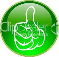 3D Button grün Daumen