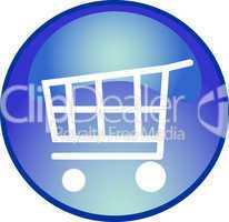 blauer button mit einkaufswagen