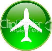 3D Button grün Flugzeug