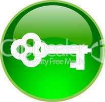 3D Button grün Schlüssel
