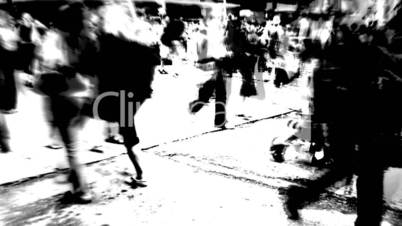 black and white street scene