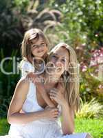 Mother with her Daugther in summer outdoors