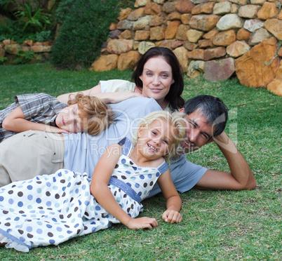 Family enjoying life in the garden
